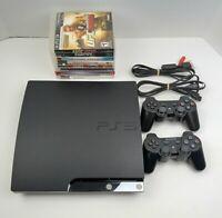 Sony PlayStation 3 Slim 160GB Bundle W/ 8 Games, 2 Controller.