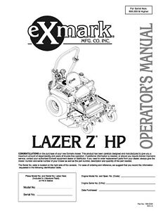 eXmark Lazer Z HP Operators Manual & Part List Diagrams Schematics LHP19KA505