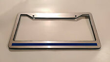 Chrome Plastic Blue Line License Plate Frame thin REFLECTIVE Support The Police