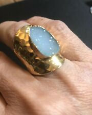NWOT Gray Druzy Gold Plated Ring Adjustable