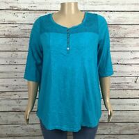 Catherines Blouse Shirt Top 0X 14W 16W PLUS Blue Lace Crochet Front 3/4 Sleeve