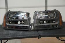 FOR 2002-2009 CHEVY TRAILBLAZER BLACK HOUSING AMBER CORNER HEADLIGHT/LAMP SET