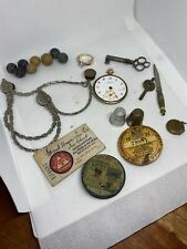 New listing Cj34 Antique Estate Junk Drawer Fishing License Pocket Watch Marbles Jewelry