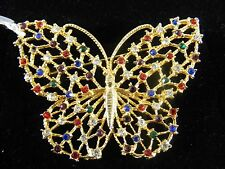BUTTERFLY BROCHE, GOLD COLORED MESH, MULTI COLORED STONES