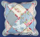Blue Cream Roses Patchwork Red Ruffle Decorative Cushion Cover 45x45cm-New
