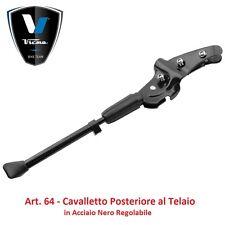 Cavalletto Acciaio Nero Regolabile Posteriore a Telaio per Bici 26-28 Tipo Corsa