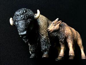 Schleich Figurines #14349 Bison Bull + #14350 Bison Calf Pair, RETIRED, RARE!