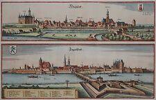 Höchstett - Ingolstatt - Ingolstadt und Höchstadt -Doppelansicht von Merian 1644