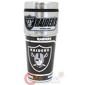 Oakland RaidersCoffee Mug Travel Tumbler Cup NFL Metallic Logo with Metal Emblem