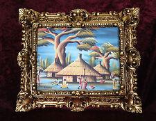 Africana PAISAJE CON MARCO ORO 45x38 Paisaje Pintura kamango
