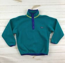 Patagonia Kids Size Large 12 14 Fleece Pullover Snap T Reflective Teal Green Vtg