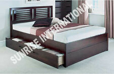 Furniture -  Wooden Indian Queen Size Double Bed with 2 storage drawers !!