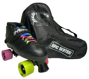Epic Super Nitro Rainbow Quad Roller Speed Skates Bundle Sz 9