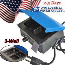 USA Dental 3-Well Pot Lab Melting Pot Dipping Analog Wax Heater Melter 110V/220V