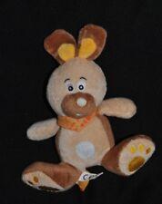 Peluche doudou lapin beige brun FIZZY colerette bandana orange 21 assis TTBE