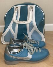 Vintage 80s Nike Womens Size 7 Bowling Shoes Baby Blue & Silver Plus Bag!