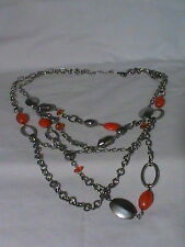 Double strand Orange and Silver tone Bead and Chain Necklace signed Lane Bryant