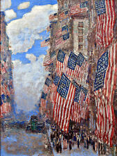 Childe Hassam NY US Flags American USA Wall Art  Canvas