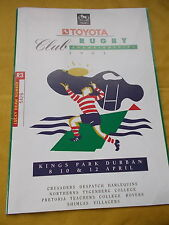 Toyota Rugby Club Championships Programme For 1993 -Held At Kings Park, Durban