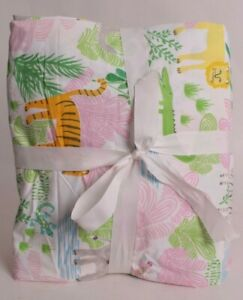 Pottery Barn Kids Jungle Safari twin sheet set sheets cotton percale, girls pink