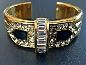 Rachel Zoe Art Deco Cuff Bracelet in Gold, Black and Clear Crystals - GORGEOUS!