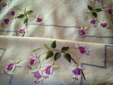 """Wonderful Pink Fuchsias  Vintage Hand Embroidered Large Tablecloth 50"""" x 51"""""""
