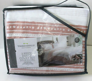 Threshold 3 Piece Border Print Cotton Duvet Cover & Sham Set Full/Queen Coral