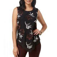 ALFANI Women's Floral Mesh Handkerchief-hem Blouse Shirt Top TEDO
