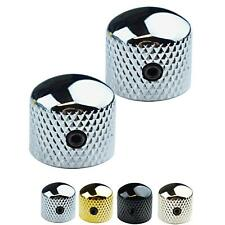 More details for 2 x dome top metal control knobs for telecaster stratocaster electric guitar