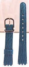 Bracelet Montre Vachette Grain Requin 15 mm Turquoise Boucle Acier (Swatch)