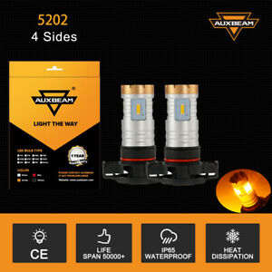 AUXBEAM 5202 H16 LED Fog Light Bulbs for 2007-2015 Chevy Silverado 1500 Amber