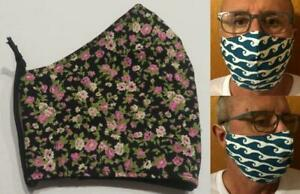 Tubie Luxe face mask with filter pocket (no filter included) black pink floral