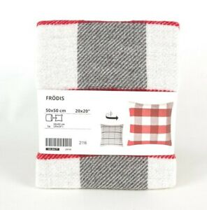 """Ikea Frodis Christmas Cushion Cover 20x20"""" White Red Grey Checked 13%  Wool"""