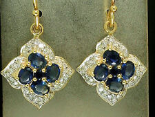 s E107 Genuine 9K SOLID Gold NATURAL Sapphire & Diamond Blossom Cluster Earrings