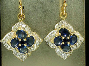 s E107 Genuine 9K SOLID Gold NATURAL Sapphire & Diamond Blossom Cluster Earrings
