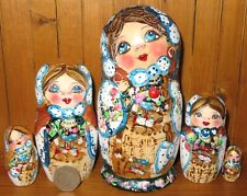 WHITE Pyrography MATRIOSHKA BLUE Russian nesting dolls 5 hand painted Mamayeva