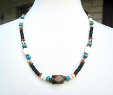 Men's Unisex Tribal Tiger Eye Turquoise Heishi Beaded Wood Necklace Surfer Style