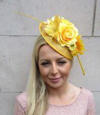 Or jaune moutarde Marron Faisan Feather Pilulier Chapeau Fascinator races Vintage 4567
