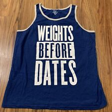 Bioworld Mens Muscle Shirt Xl Weights Before Dates Blue White Tank