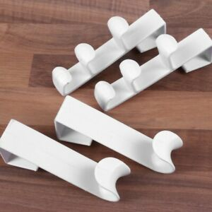 4x STRONG OVER THE DOOR HOOKS White Wash Room Bathroom Clothes Towel Hanger Pegs