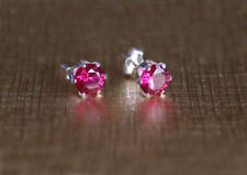 925 Sterling silver stud earrings with 6 mm synthetic Ruby