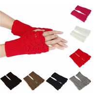 GI- BU_ KF_ Fashion Unisex Men Women Knitted Fingerless Winter Gloves Soft Warm