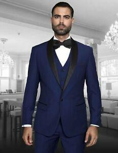 Men Blue Suits 3 Piece Work Office Casual Tuxedo Wedding Suits (Coat+Vest+Pants)