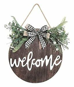 Front Door Decor, Welcome Sign for Front Porch Door Decorations Brown-greenery
