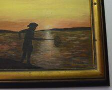 """Framed Signed 1969 Seaside Fisherman Oil Painting on Board Ben Kmetz 5"""" x 7"""""""