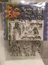 Hero Arts Poly Clear Stamp Spring Owl Frog Friends Rabbit Mushroom Butterfly