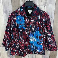 Christopher & Banks Women's Small Button Up Printed Jacket Floral Red Black Blue