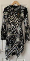 A STAR IS BORN BLACK BEADED SEQUIN EMBELLISHED DRESS UK 6 NEW