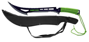 "24"" Zombie Killer Razor Sharp Machete w/ Nylon Sheath Case 440 Steel Blade Green"