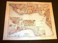 Carta geografica o Mappa Stielers di Domann del 1901 Africa ovest Congo Guinea